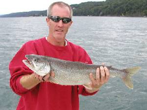 Joe Bergen with a nice lake trout he caught from Seneca Lake in August 2003. This fantastic lake trout fell victim to a silver streak spoon set at a depth of 70 feet deep with a trolling speed around 2 mph in 250 feet of water