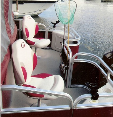 Our Vessel is a 27 foot Tahoe Pontoon it is 8 and half feet wide with a heated cabin, Porta Potty, Stereo, and all the latest marine electronics to make your trip more enjoyable