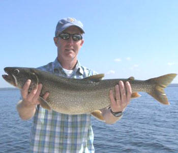 Joe Bergen from Lock Haven PA is holding a nice lake trout he caught from Seneca Lake.