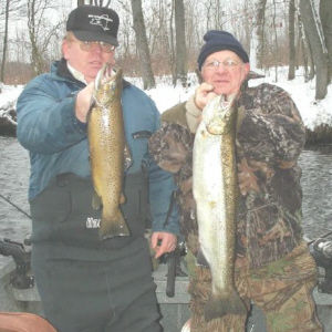 Raymond Martin of Elmira, NY and Jim Cleary from Big Flats NY took and drift boat trip down the Salmon River with Shane Thomas of Gottum Guide Service