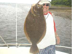 On Friday August 8, 2003  James Tully and friends were fishing near the sea buoy off Shinnecock Inlet. Thats when he hooked and landed this 8 pound 12 ounce, fluke aboard his friends boat, the