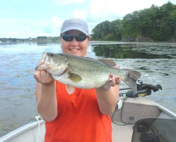 5 and half pound largemouth bass caught from Lake Champlain south of Crown Point.