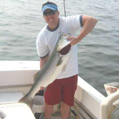 Michael Redmond was fishing at Breezy Point aboard the Irish Mist. He had snagged a bunker and while reeling it in this big 40 inch striped bass decided to make lunch out of it