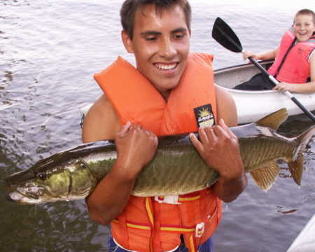 Alex Bottcher of Elmira, NY was fishing from a kayak on the west shore of Waneta Lake on September 22, 2007 when he caught this incredible muskie.